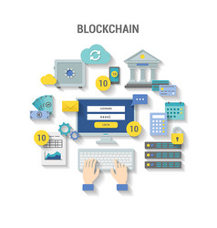 blockchain concept finance banner with shadow vector image
