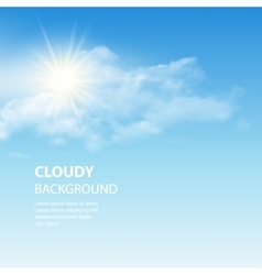 Blue sky background with tiny clouds vector image