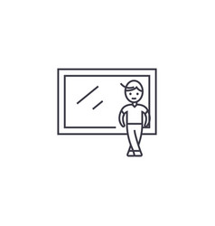 boy at the window line icon sign vector image