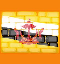 Brunei flag painted on brickwall vector
