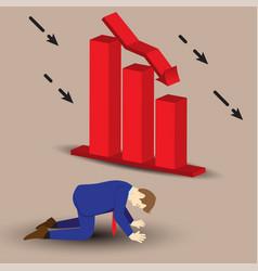 Businessman kneeling beside declining bar graph vector