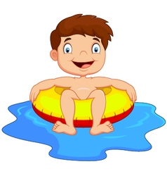 Cartoon Boy with inflatable ring vector