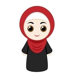 Cartoon girl with hijab vector image