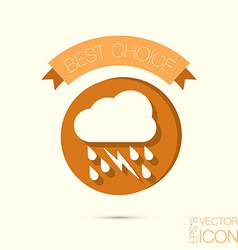 Cloud rain lightning the weather icon vector