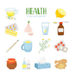 Cold remedy icons set vector