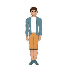 Color image cartoon full body man with shorts and vector