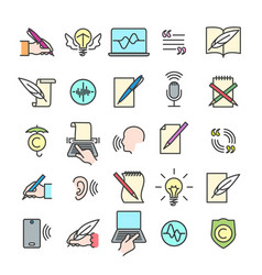 colorful storytelling line icons vector image