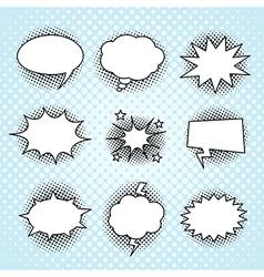 Comic speech bubbles set vintage halftone print vector image