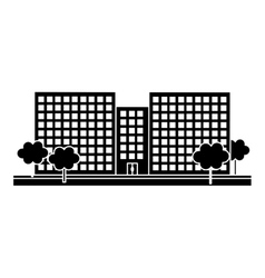 contour city scene and buildings with trees line vector image