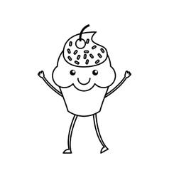 Cupcake character kawaii with party hat vector