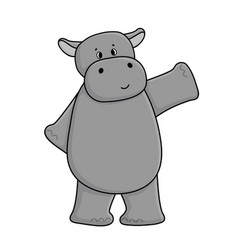 cute cartoon gray hippo is waving his hand stands vector image