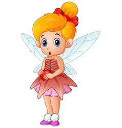 cute little love fairy holding a heart vector image