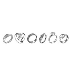 Different isolated jewelry rings set vector