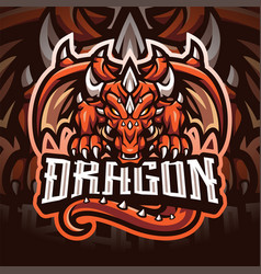 Dragon esport mascot logo design vector
