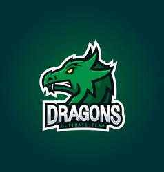 dragon head - logo for esport mascot design vector image