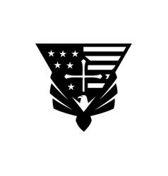 Eagle usa flag cross logo vector