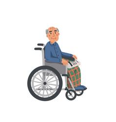 Elderly man in wheelchair old man grandfather vector