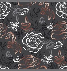 elegant hand drawn rose floral seamless pattern vector image