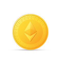 Ethereum icon is a golden color crypto currency vector