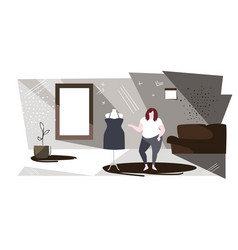 fat overweight woman choosing new dress in fashion vector image