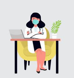 Female doctor in hospital medical office vector
