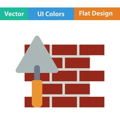 Flat design icon of brick wall with trowel vector