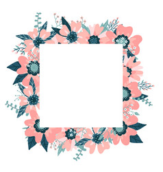 floral frame isolated on white background vector image