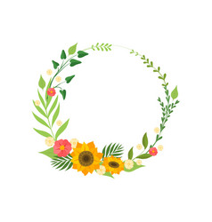 floral wreath with blooming flowers and leaves vector image