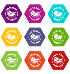 fresh meat icons set 9 vector image