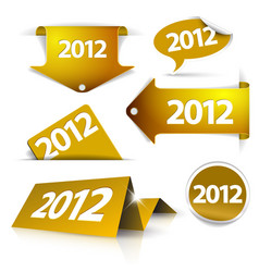 golden 2012 labels stickers pointers tags vector image