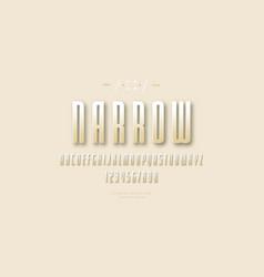 golden colored narrow sans serif font vector image