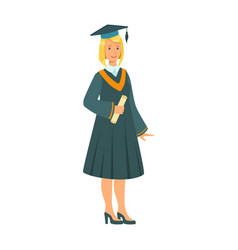 Graduate girl in the mantle holding graduation vector