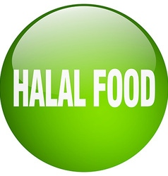 Halal food green round gel isolated push button vector