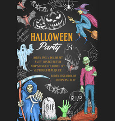 Halloween holiday party witch sketch poster vector