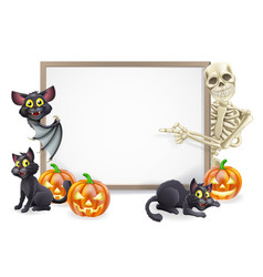 Halloween sign with skeleton and bat vector