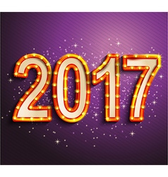 Happy 2017 new year shining retro light vector image
