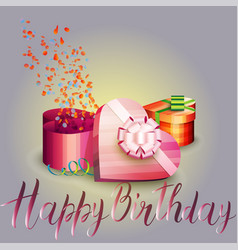 Happy birthday beautiful greeting card with gift vector