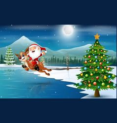 Happy santa claus riding a reindeer on christmas n vector