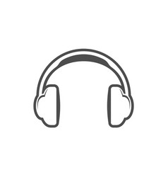 headphone simple icon white design vector image