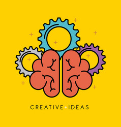 human brain creativity ideas business solution vector image