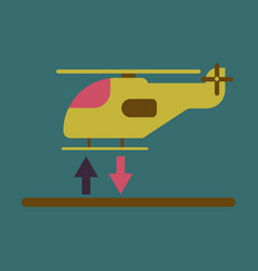 Icon in flat design helicopter lands vector