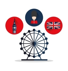 Isolated Big ben flag eye and soldat design vector