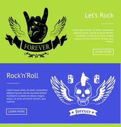 Let s rock n roll collection of colorful banners vector