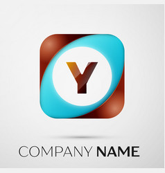 letter y logo symbol in the colorful square on vector image