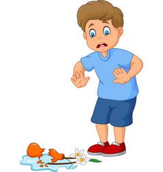 little boy break flower pot vector image