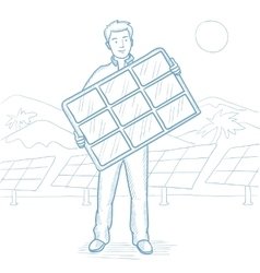 Man holding solar panel sketch vector