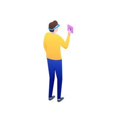 Modern boy start his travel in virtual reality vector