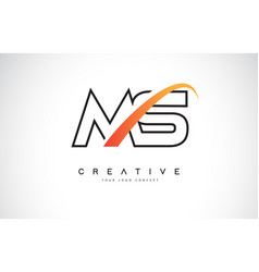 ms m s swoosh letter logo design with modern vector image