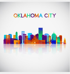 oklahoma city skyline silhouette in colorful vector image