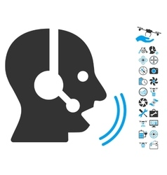 Operator Speech Icon With Air Drone Tools Bonus vector image